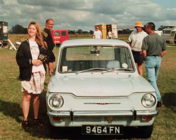 front view Rootes Imp Class winner with the owner