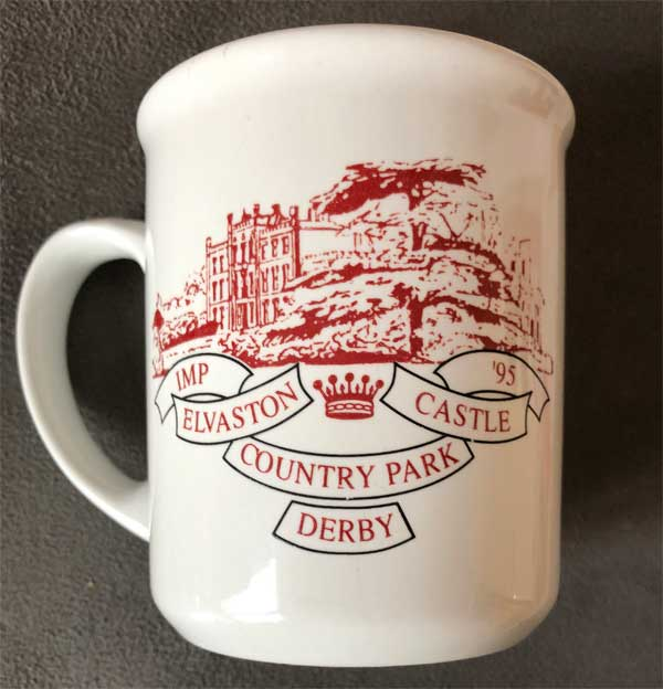 Mug with Imp '95 Elvaston Castle Country Park, Derby witten on it with a picture of stately home in grounds