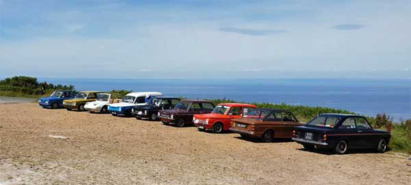 Imps parked overlooking beautiful Devon coastline